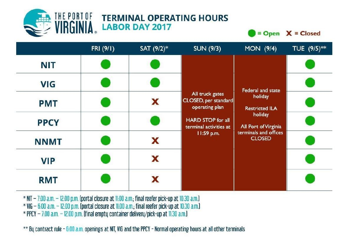 PORT OF VIRGINIA OPERATING HOURS LABOR DAY WEEKEND 2017 | TMTA
